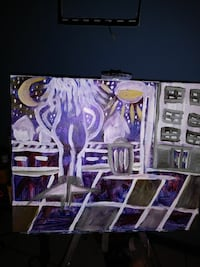 purple, white, and gray abstract painting