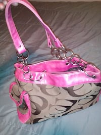 Pink and white coach monogram shoulder bag Springfield, 65804