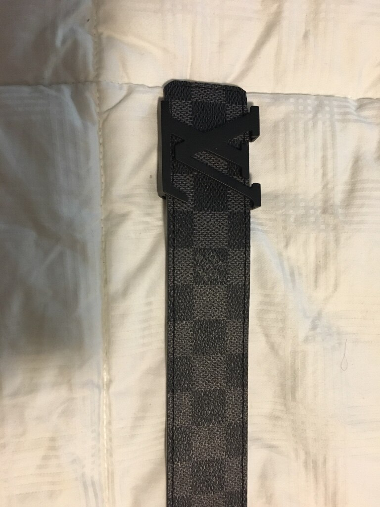 Damiere Azur Louis Vuitton leather belt