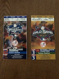 2000 Subway Series World Series & 2001 WS Ticket Stubs -Mint New York, 10307