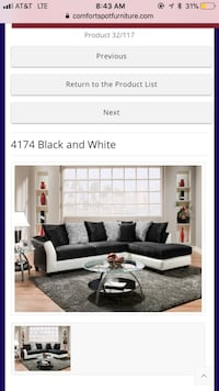 4174 Black and White Sectional- Español