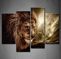 Brand new 4 panel wall canvas wall art lion king of the jungle  Toronto, M2N 4C1