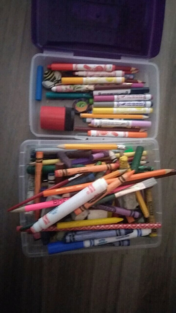 assorted color pens in case