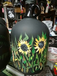 floral painted black glass growler