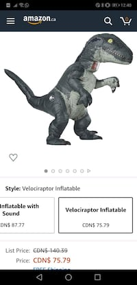 Grey inflatable dino suit  paid $85  Saint Marys, N4X 1C9