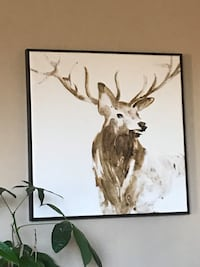 Deer painting with square gray frame