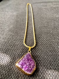 Real amethyst geode pendant gold dipped with Trifari gold chain
