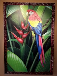 Parrot painting (Costa Rica) & frame North Vancouver, V7M 0A7