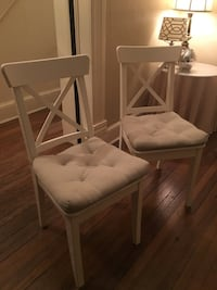 Off-white IKEA chairs with cushions. $10 per chair, 2 available. Washington, 20002