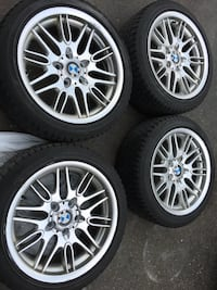 4 sat tires and rims for bmw 320 tires size 225/45/17 Brampton, L6R 3M6