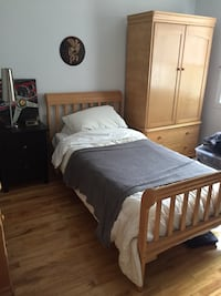 Single bed bedroom set with armoire, dresser and night stand Laval, H7W 1S3