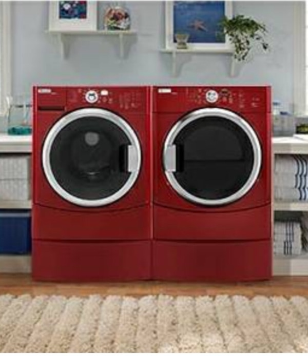 Washer Electric Dryer Maytag Epic Z Burgundy Red With Pedestals Great Condition