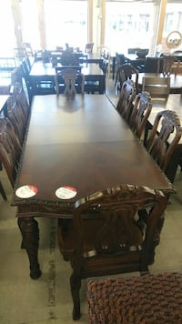 brown wooden 9-piece dining set