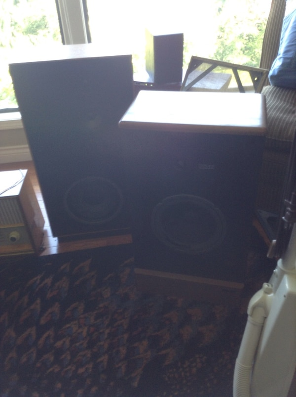 two black-and-brown PA speakers
