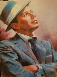 portrait painting of man in blue notched lapel sui