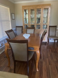 Dining table , chairs, china hutch, Willing to sell items separately.