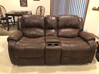 Brown leather cloth home theater couch electric Monument, 80132