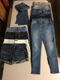 American Eagle denim jeans, size 4 Jeggings , one Flare & 4shorts.