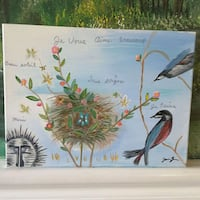 Original painting of birds, a nest and Flowers Oakdale, 95361