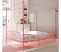 CLEARANCE: Gorgeous Full Pink Canopy Bed Frame (in Box)