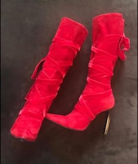 BCBGMAXAZRIA Red Lace Up Knee High Boots Size 8.5  Suede upper Leather lower & super cute metal heels Made in Italy originally  paid $482.00.  Fair Oaks, 95628