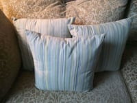 Three blue green and ivory striped pillows used 4 decor on child's bed Surrey, V3R 0H9