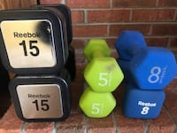 two blue and green fixed weight dumbbells Dunkirk, 20754