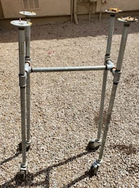 Home Made Galvanized Pipe Table / Tool Legs / Stand with Wheels Queen Creek