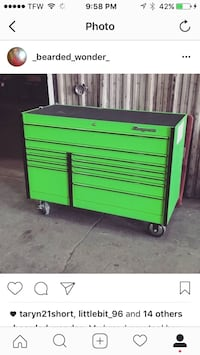 Green steel snap-on tool cabinet Noblesville, 46060