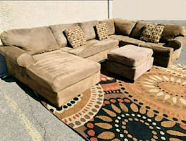 Gorgeous Brown U-shaped Sectional, Delivery Available ASAP