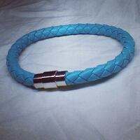 (100% BRAND NEW) GENUINE LEATHER WEAVE BRACELETS WITH MAGNETIC STAINLESS STEEL CLASP Regina