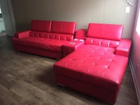 Red leather tufted sectional sofa