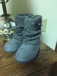 pair of gray suede knitted round toe boots Weston, 26452
