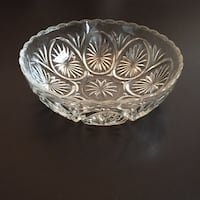 "8""w Vintage Bowl; Anchor Hocking Pressed Glass Arlington, 22204"