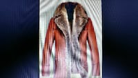 red and brown fur jacket