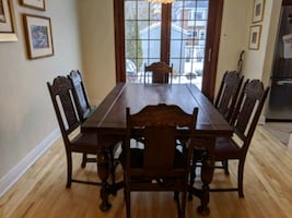Dining table with 6 chairs - hard wood