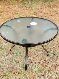 New outdoor glass table.