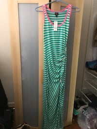 Bebe green and white striped maxi dress size small (new) 15 km