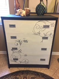 Charcoal and Cream 4 Drawer Chest upcycled Original design on front Hamilton Township, 08330