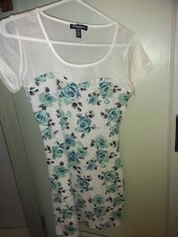 White and blue floral print dress with mesh top. Hamilton, L8H 4Z3