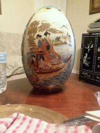 "12"" Vintage Asian Satsuma porcelain egg 431 mi"
