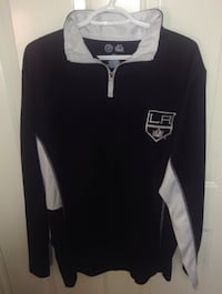 Los Angeles Kings NHL 1/4 Zip Long Sleeve T Shirt Size Medium Tall By Majestic London