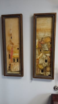 Pair of Mid Century Acrylic Paintings on Masonite.  Deltona