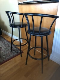 Black with Leather Bar Stools (Set of 2)