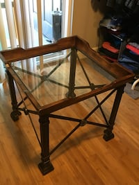 """Table with beveled glass insert 26"""" cubed Portland, 97219"""