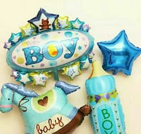 A set of 4 baby bay shower foil balloons