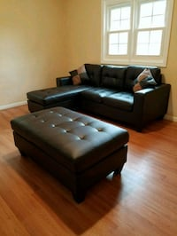 Brand New Espresso Leather Sectional Sofa Couch  23 mi