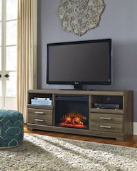 Frantin Brown TV Stand with Fireplace Insert | W12 Houston, 77036