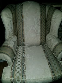 gray and white floral fabric sofa chair Annandale, 22003