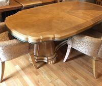 Brown wooden pedestal table and six chairs  Millstone Township, 08510